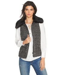 Tweed Faux Fur Collar Vest