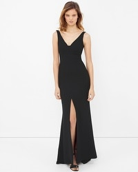 Front-Slit Black Gown