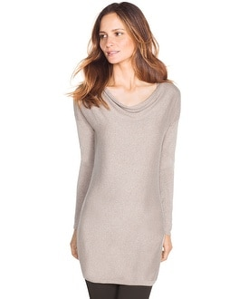 Drape Neck Shimmer Sweater
