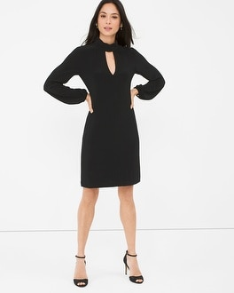 Black Mock Neck Shift Dress