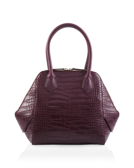 Croco-Embossed Satchel