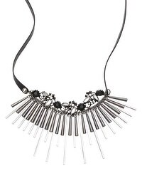 Leather Mixed-Media Bib Necklace