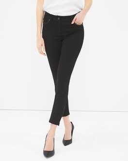 City Knit Ponte Faux Leather Trim Skimmer Pants