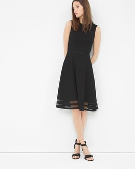 Mesh Inset Fit-and-Flare Dress
