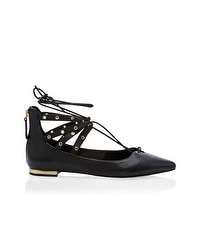 Leather Lace-Up Grommet Flats