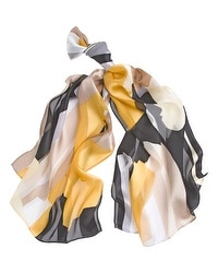 Printed Silk Shadow Stripe Scarf