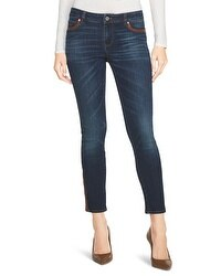 Saint Honore Faux Leather Trim Skimmer Jeans