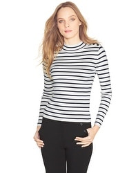 Stripe Mock Neck Sweater