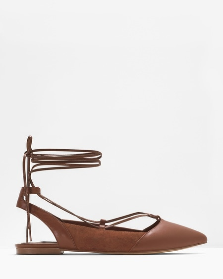 Lace-Up Slingback Flats