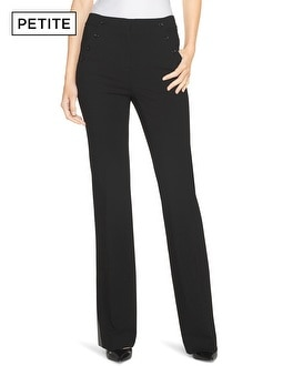 Petite Side-Button Flare Pants