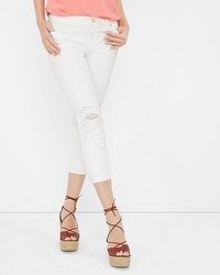 Distressed White Slim Crop Jeans