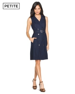 Petite Sleeveless Denim Trench Dress