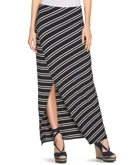 Stripe Wrap Maxi Skirt