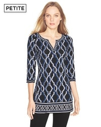 Petite Printed Notch Neck Tunic