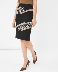 Pieced Ponte Pencil Skirt
