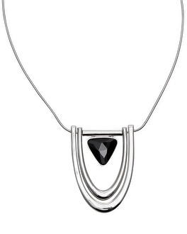 Jet Drop Long Pendant Necklace