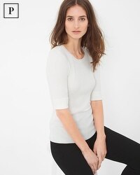 Petite Crew Neck Ribbed Sweater