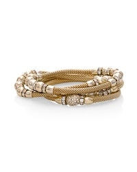 Goldtone Mesh Stretch Bracelet Set