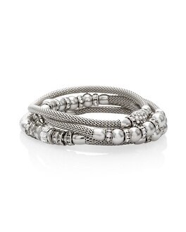 Silvertone Mesh Stretch Bracelet Set