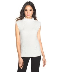 Sleeveless Mock-Neck Sweater