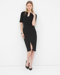 Notch-Neck Seamed Sheath Dress