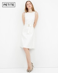 Petite Belted Fit-and-Flare Dress