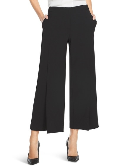 Wide-Leg Split Cropped Pants