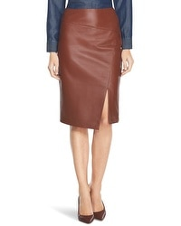 Slit Leather Pencil Skirt