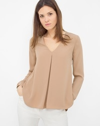 Long Sleeve Front Pleated Blouse