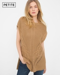 Petite Cable Knit Poncho