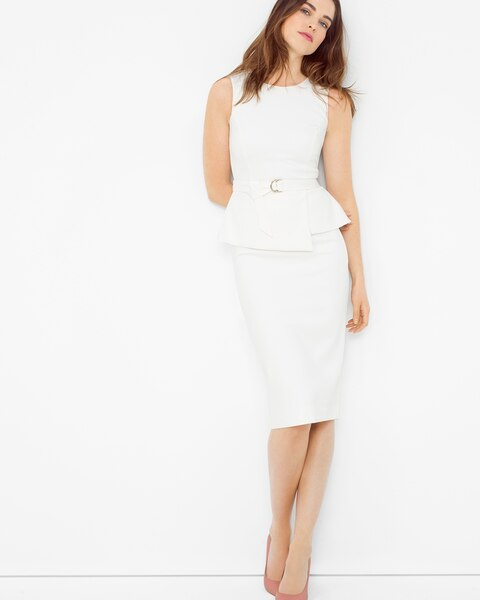 5f315463fa8cf1 Return to thumbnail image selection Layered Peplum Sheath Dress video  preview image