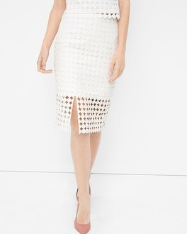 Lace Cut-Out Pencil Skirt
