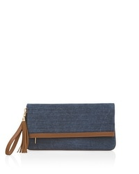 Denim-Colored Suede Foldover Clutch