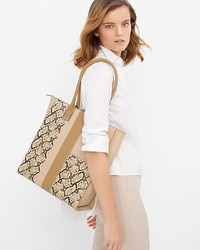 Leather Exotic Print Tote
