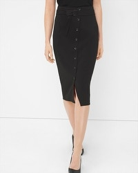 Button-Front Pencil Skirt