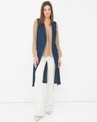 Sleeveless Denim Trench Coat