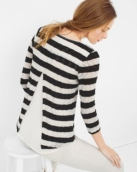Layered-Detail Stripe Sweater