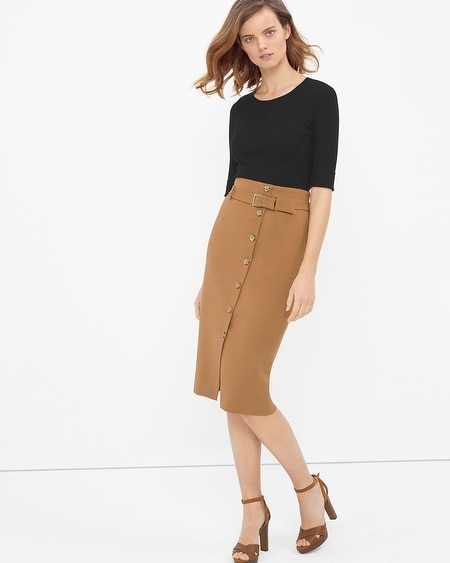button front pencil skirt whbm
