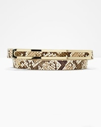 Leather Exotic Print Skinny Belt