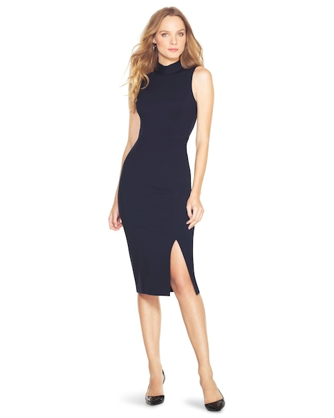 876048fc Return to thumbnail image selection Mock Neck Midi Sheath Dress video  preview image, click to start video
