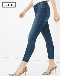 Petite Distressed Skimmer Jeans