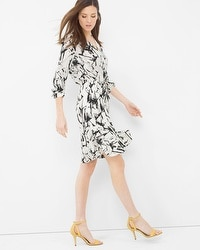 Contrast Print Drawstring Dress