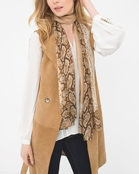 Silk Exotic Print Oblong Scarf