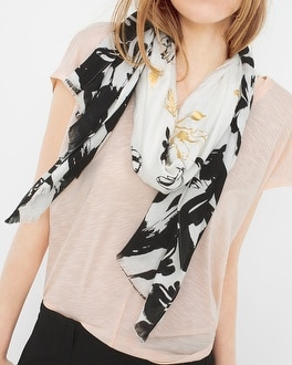 Abstract Floral-Print Scarf