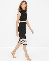 Mock Neck Stripe-Detail Sheath Dress
