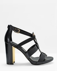 Leather Grommet Chunky Heels