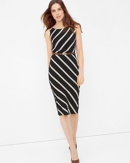 Diagonal Stripe Sheath Dress