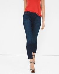 Leather Trim Skinny Crop Jeans
