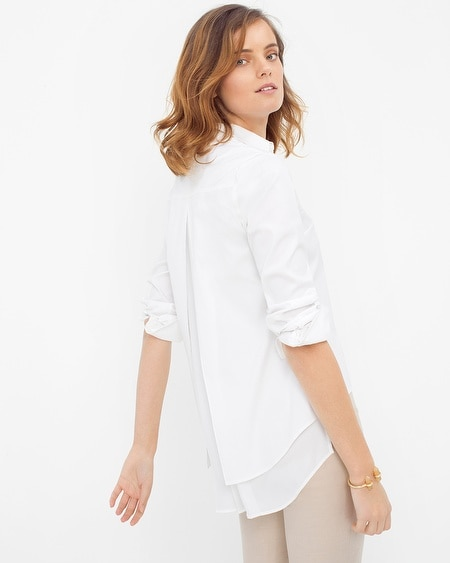 Split-Back Pleated Poplin Shirt