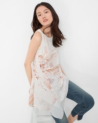 Crosshatch Print Layered Tunic